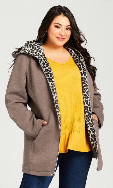 Plus Size Printed Cuff Jacket - olive