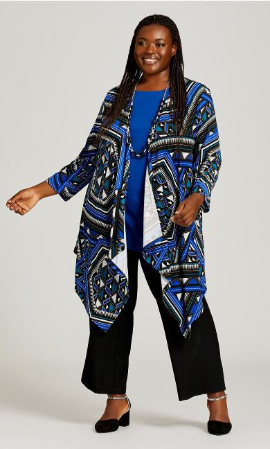 Plus Size Mixed Media Overpiece - cobalt