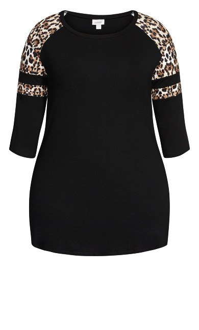 Leopard Sleeve Tee - black