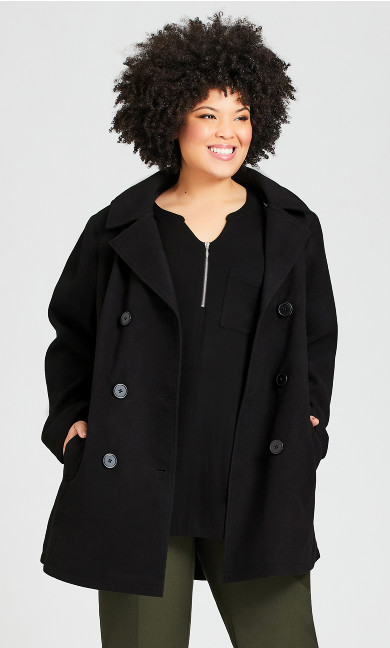 Plus Size Faux Wool Peacoat - black