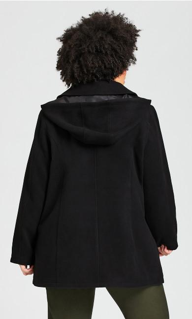Faux Wool Peacoat - black