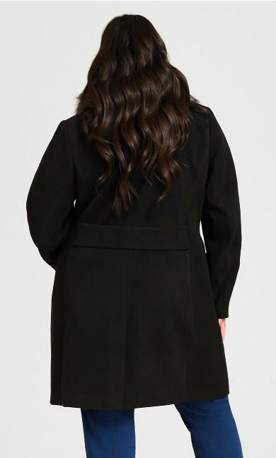 Faux Wool Long Coat - black