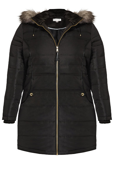 Faux Leather Trim Puffer - black