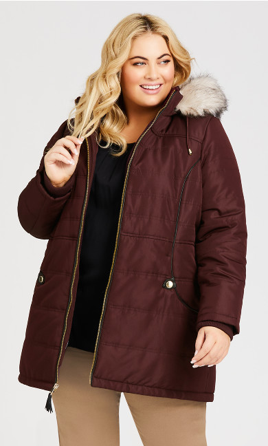 Plus Size Faux Leather Puffer - burgundy