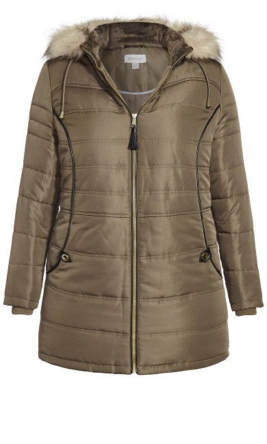 Faux Leather Trim Puffer - olive
