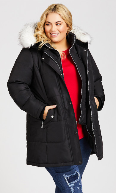 Plus Size Vestie Puffer Coat - black snow