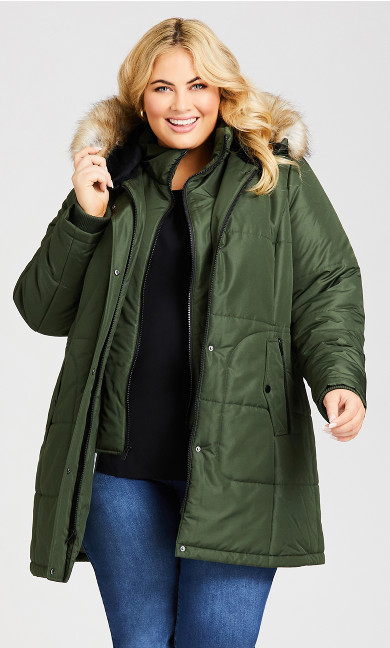 Plus Size Vestie Puffer Coat - juniper