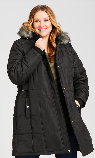 Plus Size Side Belt Puffer Jacket - black