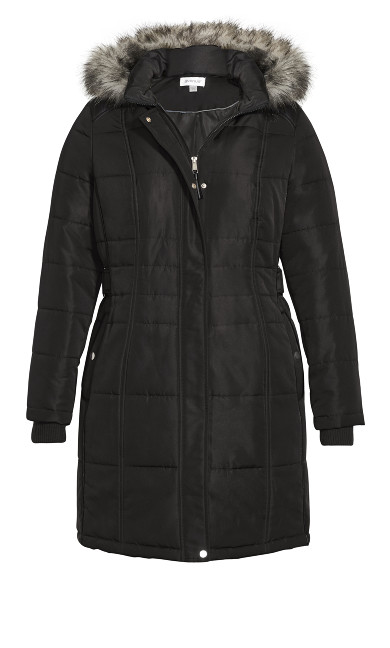 Side Belt Puffer Jacket - black