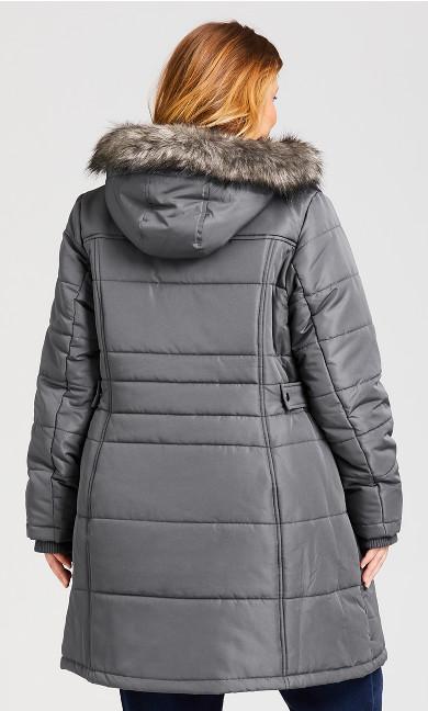 Side Belt Puffer Jacket - charcoal