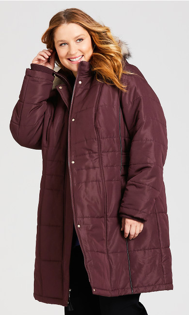 Plus Size Side Belt Puffer Jacket - rosewood