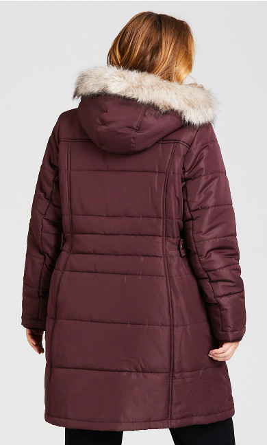 Side Belt Puffer Jacket - rosewood