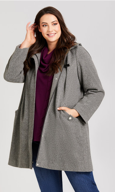 Plus Size Faux Wool Hooded Coat - charcoal