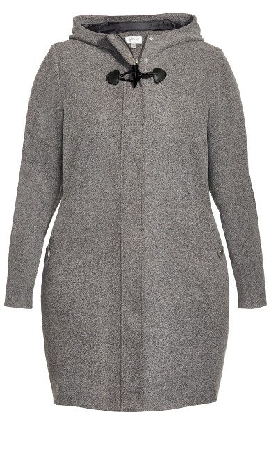 Faux Wool Hooded Coat - charcoal