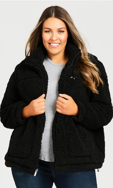 Plus Size Cozy Fleece Reversible Jacket - black