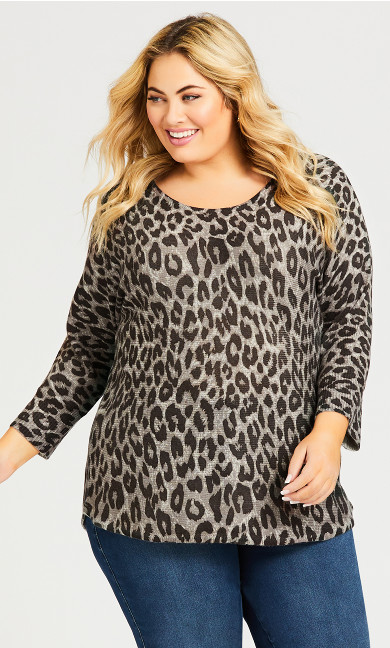 Plus Size Printed Pullover Sweater -  grey animal