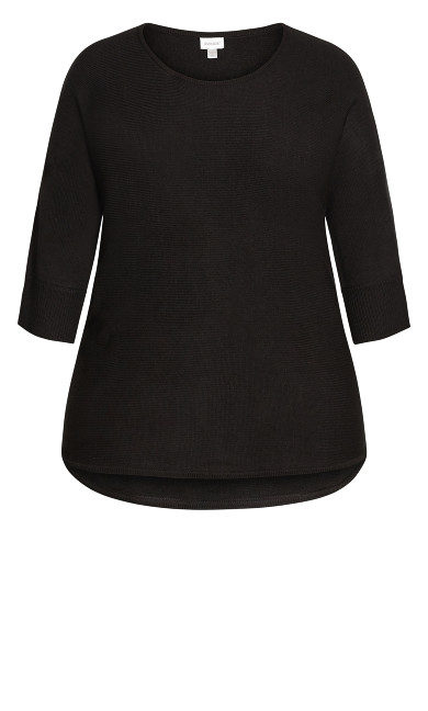 Plain Pullover Sweater - black