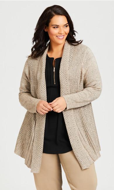 Plus Size Shimmer Pleat Cardigan - oatmeal