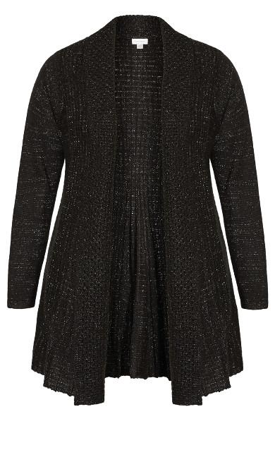 Shimmer Pleat Cardigan - black