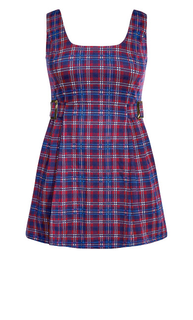Plaid Pini Dress - navy