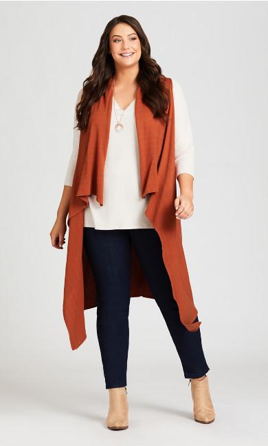 Plus Size Knit Long Vest - terracotta