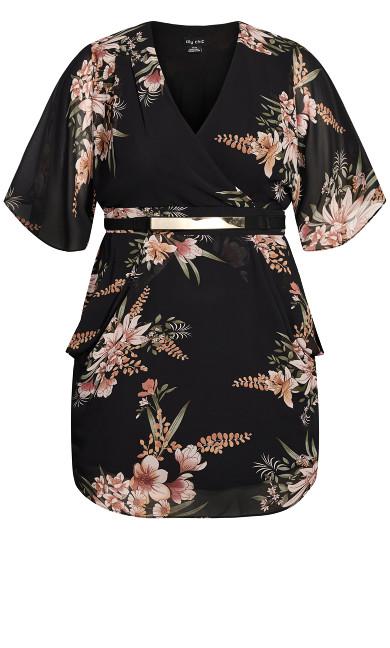 Sweet Floral Wrap Dress - black