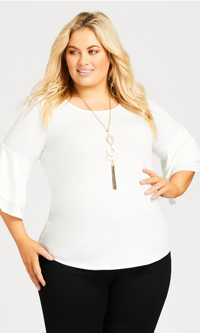 Plus Size Double Bell Sleeve Top - white