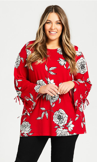 Plus Size Rose Print Caged Top - red