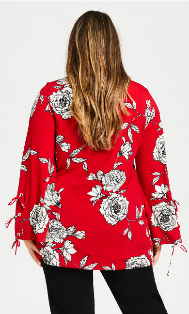 Rose Print Caged Top - red