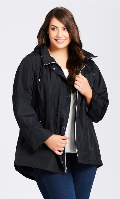 Plus Size Hooded Anorak Black Waterproof Stripe Detail