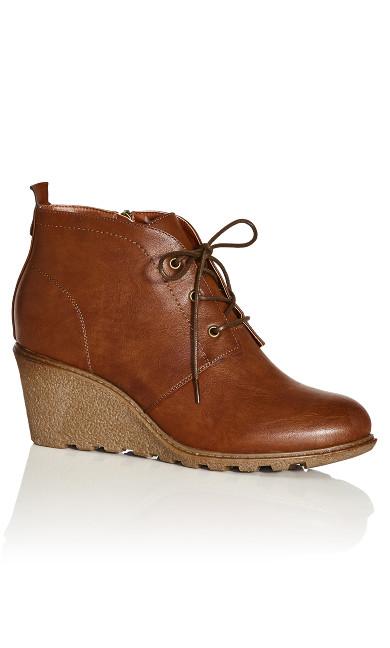 Plus Size Kylie Ankle Boot  - cognac