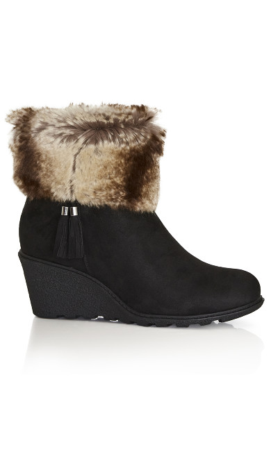 Plus Size Alma Wedge Ankle Boot - black