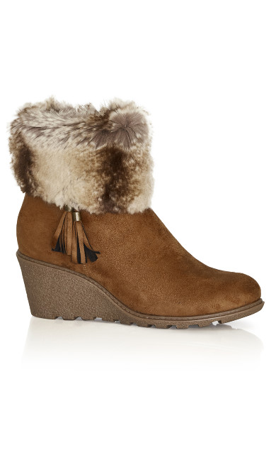 Plus Size Alma Wedge Ankle Boot - cognac