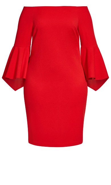 Fiona Bell Sleeve Dress - red