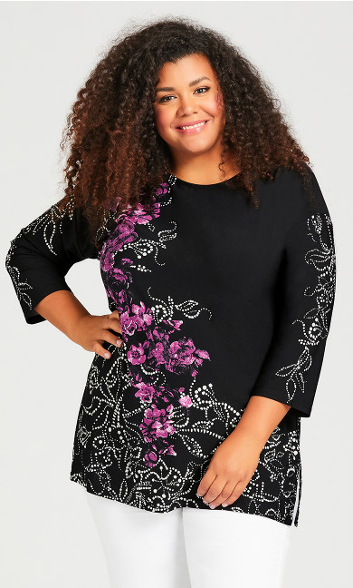 Plus Size Placed Floral Tunic - black