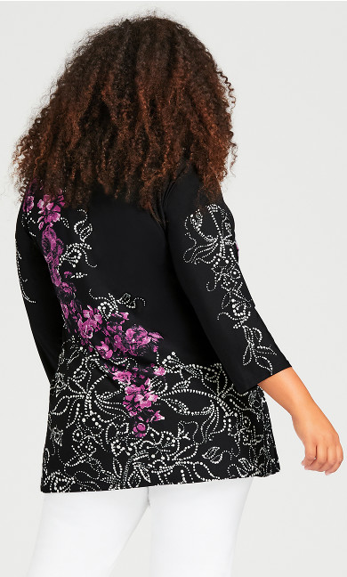Placed Floral Tunic - black