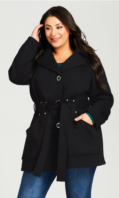 Plus Size Tie Belt Fleece Coat - black