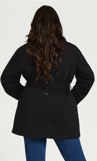 Tie Belt Fleece Coat - black