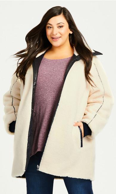 Plus Size Sherpa Reversible Plain Coat - black