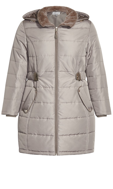 Side Belt Puffer - taupe