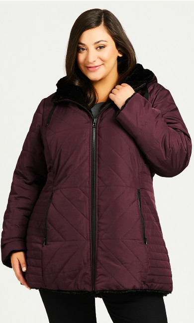 Plus Size Reversible Puffer - rosewood