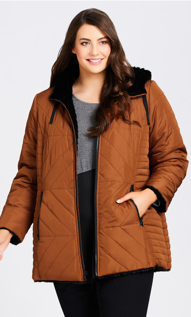 Plus Size Reversible Puffer - rust