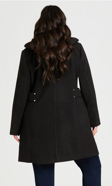 Faux Wool Plain Coat - black