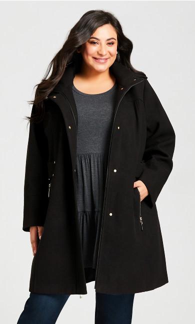 Plus Size Faux Wool Plain Coat - black