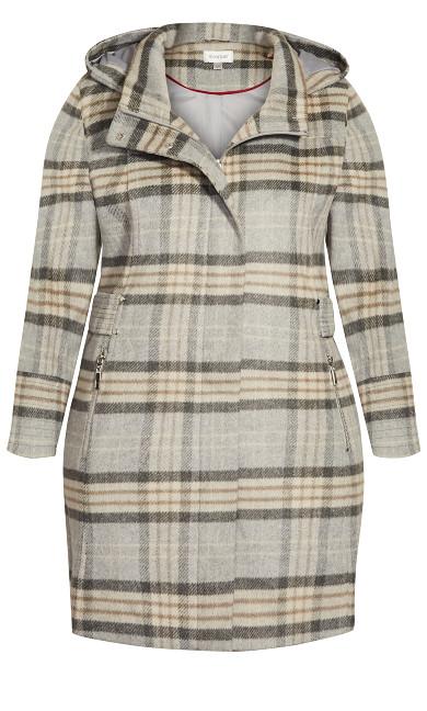 Faux Wool Plaid Coat - gray plaid
