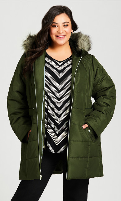 Plus Size Side Tab Puffer - juniper
