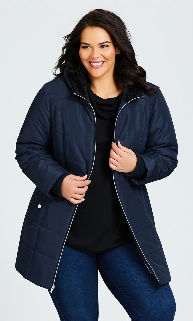 Plus Size Side Tab Puffer - navy