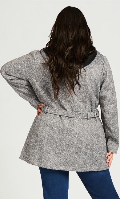 Double Breasted Fleece Coat - gray