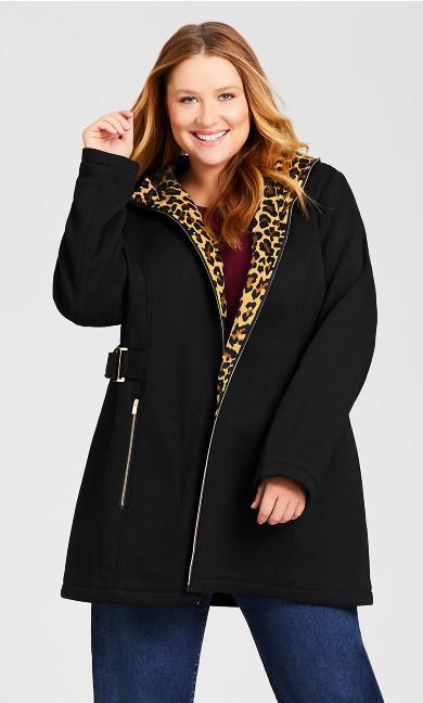 Plus Size Side Tab Fleece Coat - black