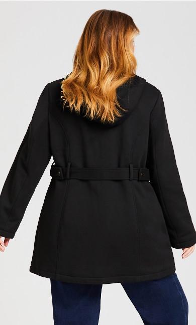 Side Tab Fleece Coat - black
